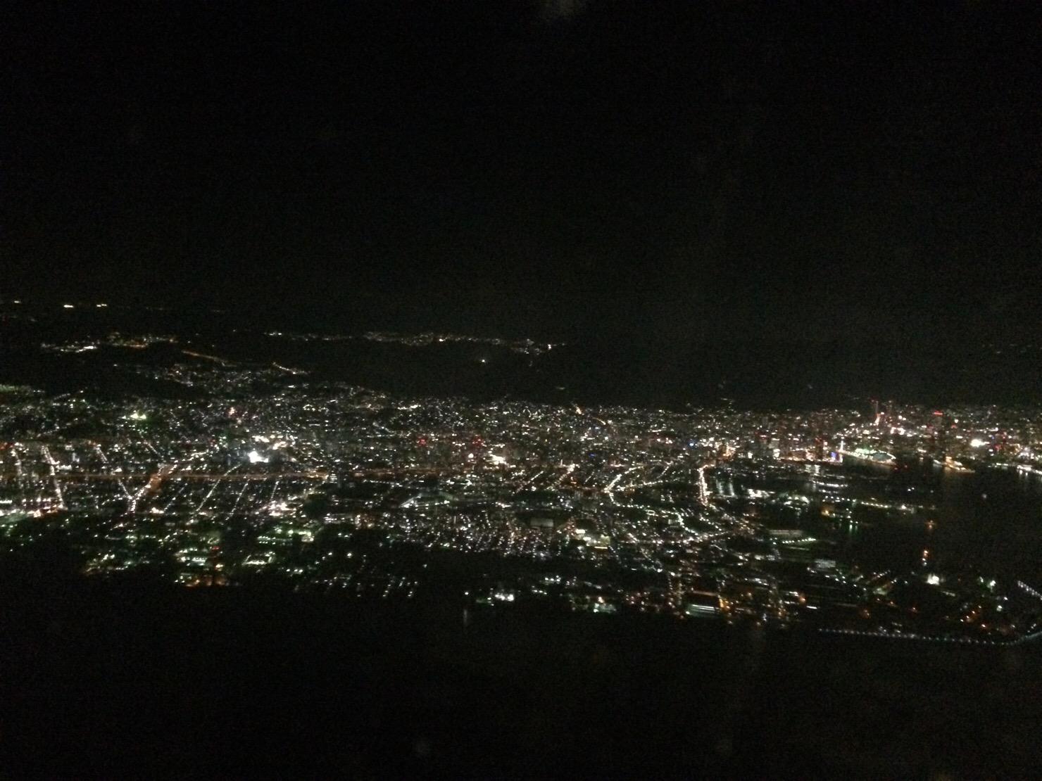 神戸 飛行機からの夜景